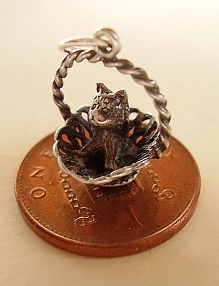 Kitten In Basket Silver Charm