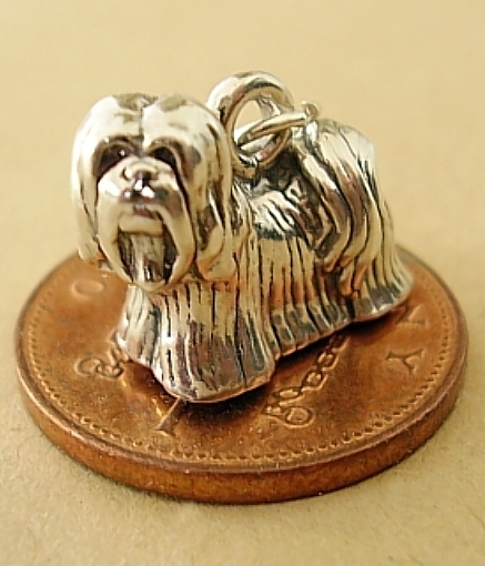 Lhasa Apso Dog Sterling Silver Charm
