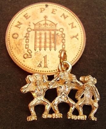 Three Wise Monkeys 18ct Gold Charm