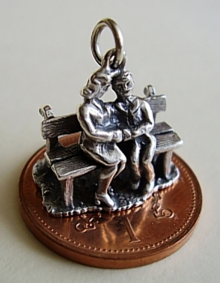 Lovers Park Bench Sterling Silver Charm
