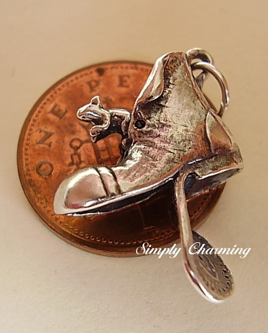 Mouse In Boot Sterling Silver Charm