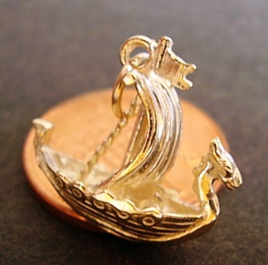 Viking Ship 9ct Gold Charm
