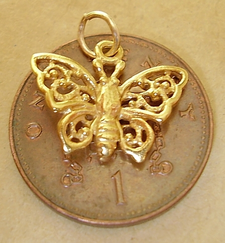 9ct Gold Filligree Butterfly Charm