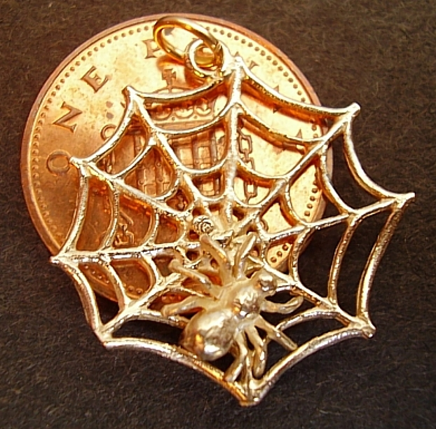 Spiders Web 18ct Gold Charm