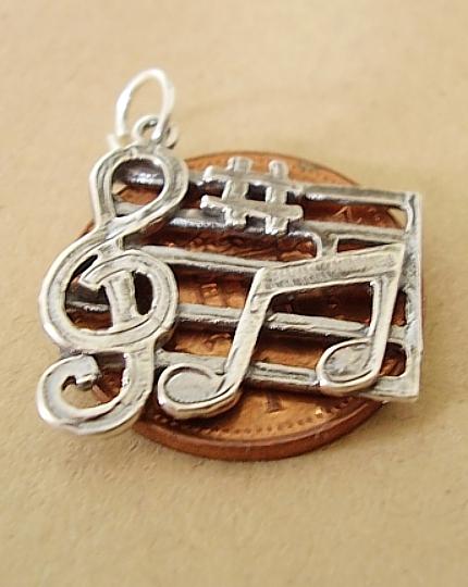 Music Bar Sterling Silver Charm