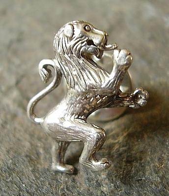 Rampant Lion Sterling Silver Tie Lapel Pin