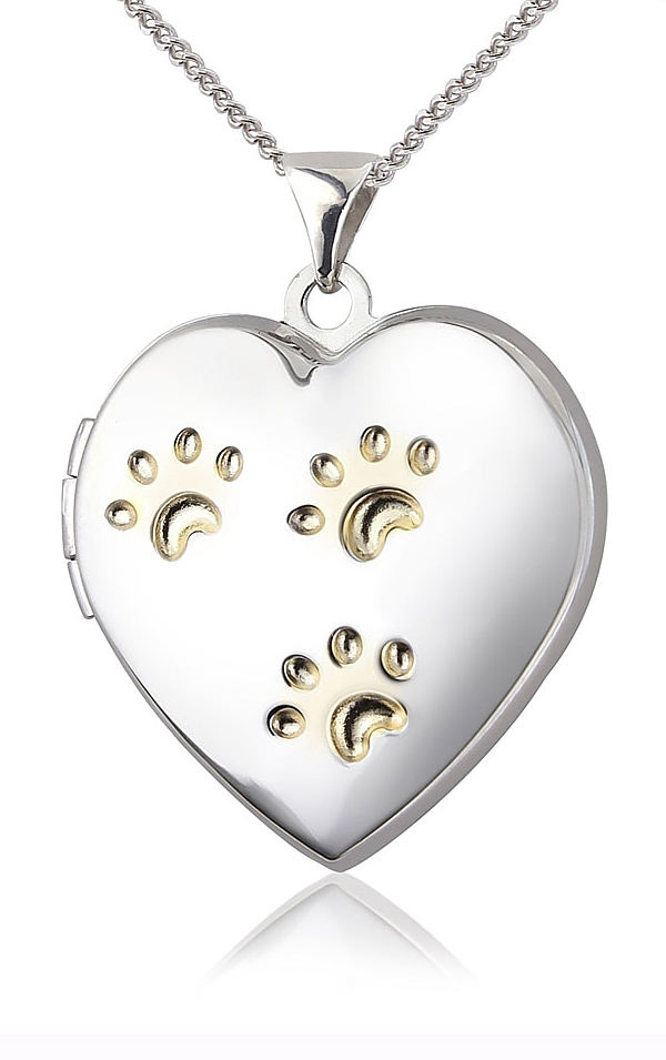 Sterling Silver Paw Prints Heart Locket