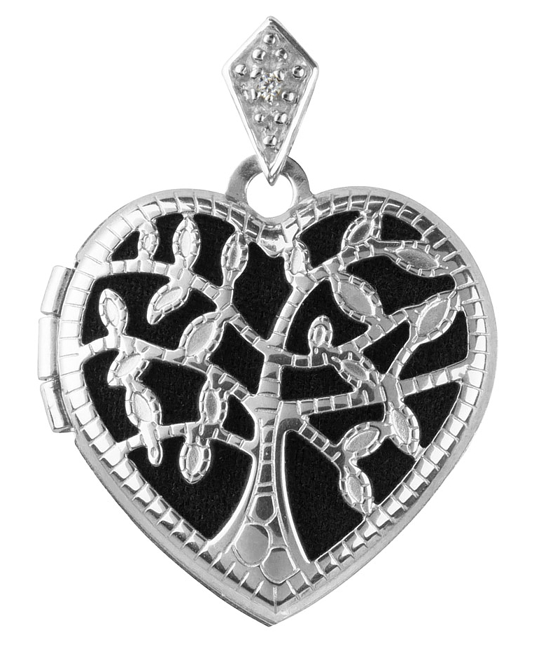 Sterling Silver Tree Of Life Heart Locket