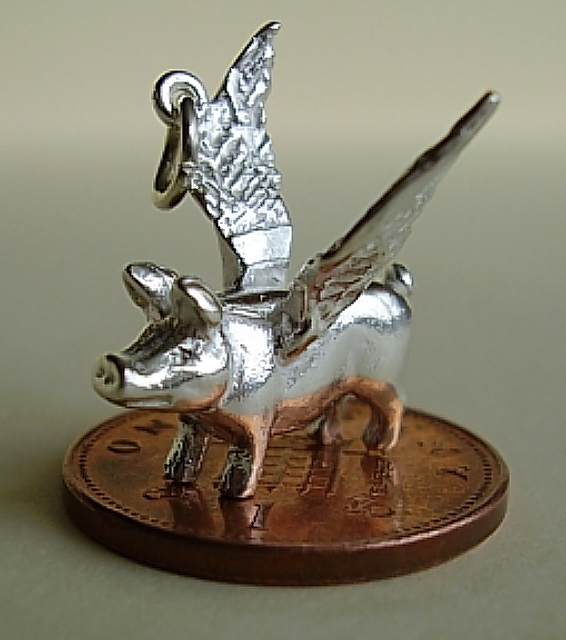 Flying Pig Sterling Silver Charm