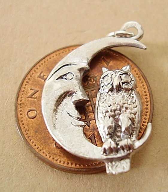 <center>Owl On Moon Sterling Silver Charm</center>