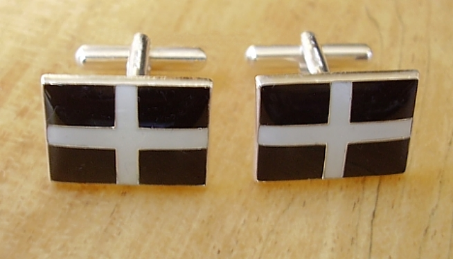 Enamelled Cornwall St Pirans Flag Cufflinks