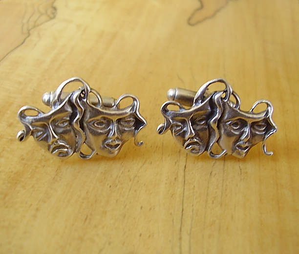 Sterling Silver Comedy Tradegy Theatre masks Cufflinks