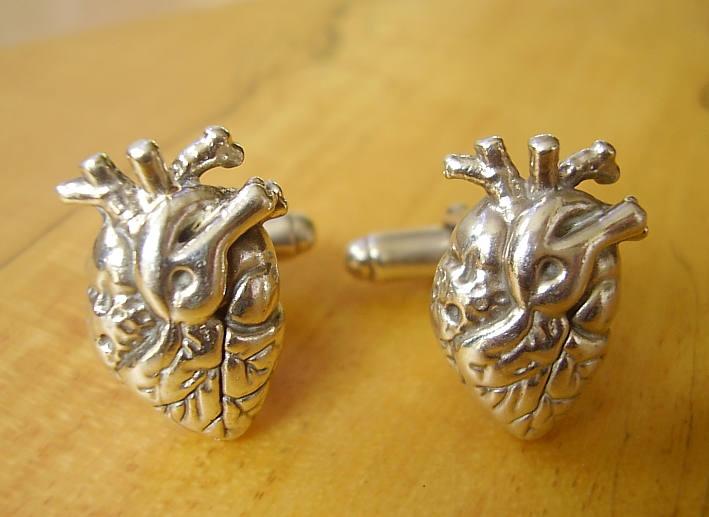 Sterling Silver Human Heart Cufflinks