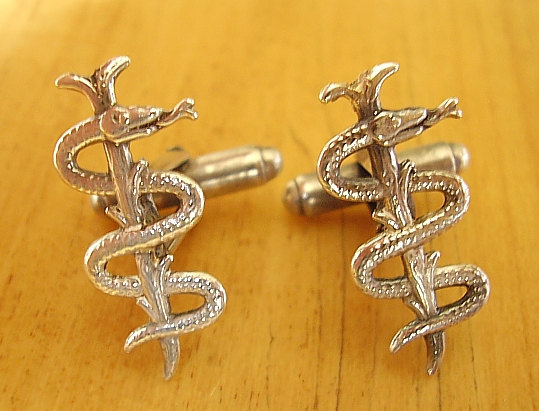 Staff Of Asclepius Medical Cufflinks