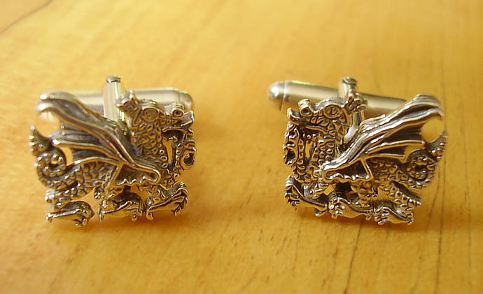 Dragon Sterling Silver Cufflinks