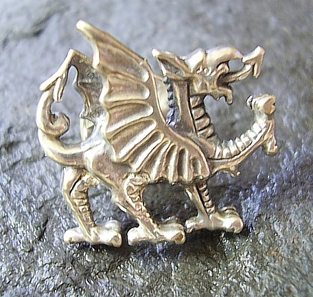 Welsh Dragon Sterling Silver Tie Pin Lapel Badge