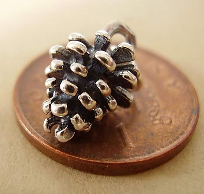 Pine Cone Sterling Silver Charm