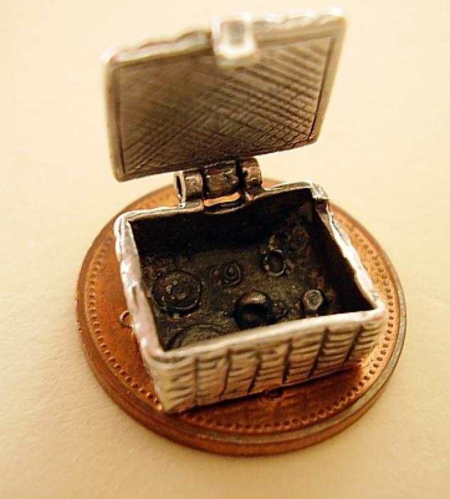 Picnic Basket Sterling Silver Charm