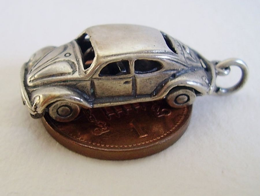 VW Beetle Car Sterling Silver Charm
