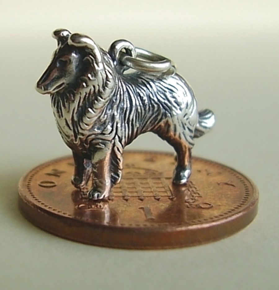 Sterling Silver Collie Charm