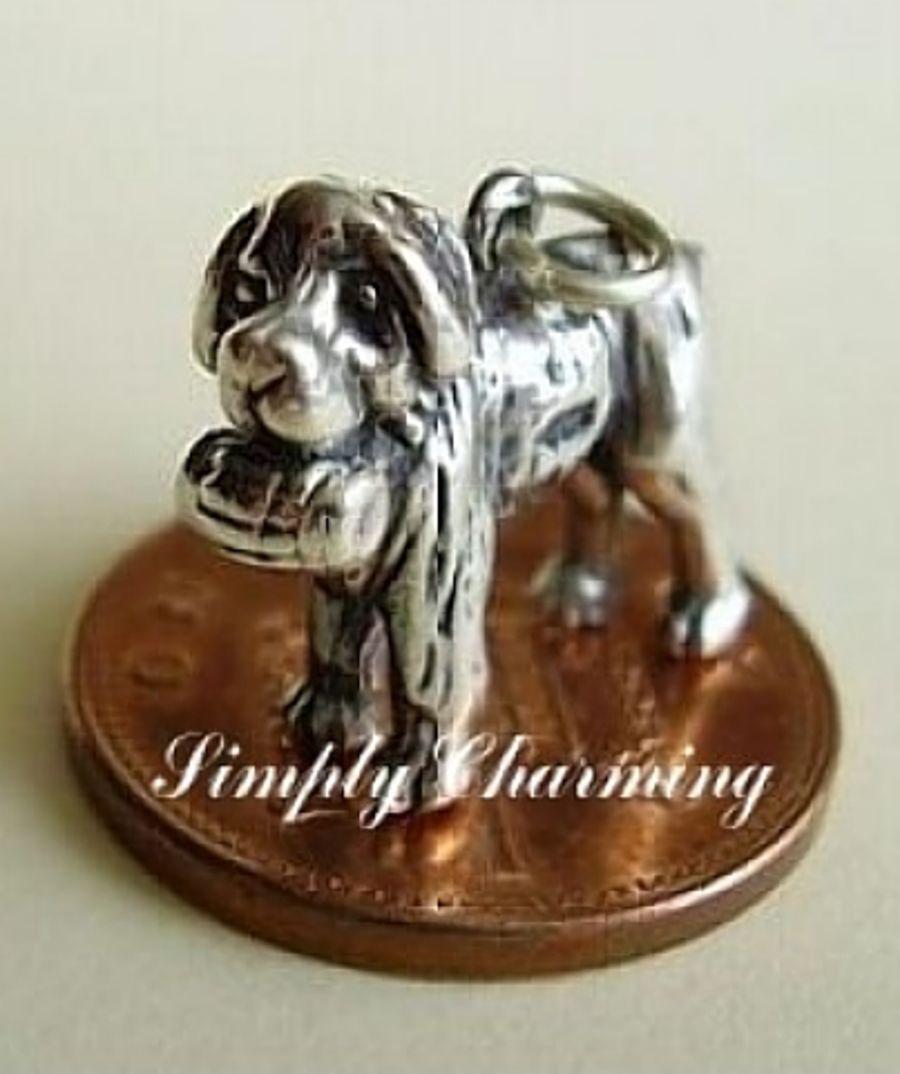 Sterling Silver St Bernard Dog Charm