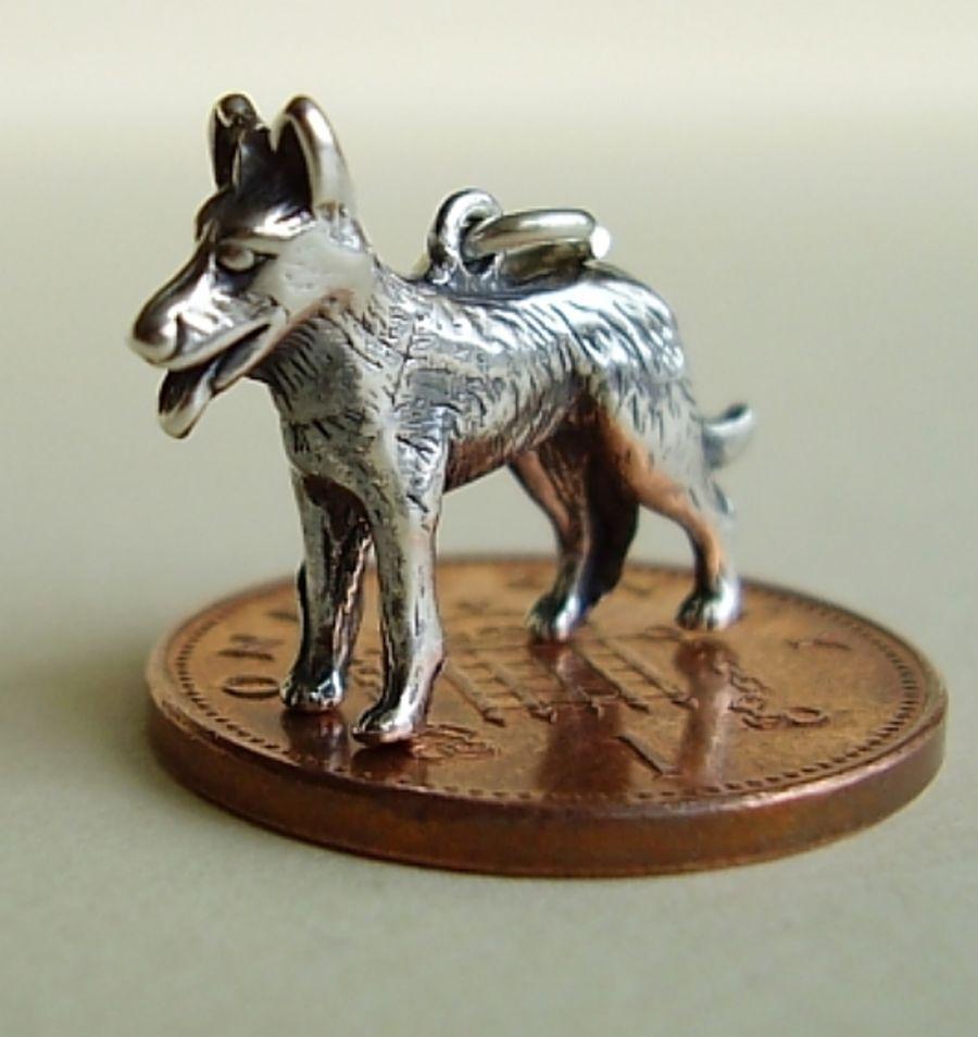 Sterling Silver Alsation Charm