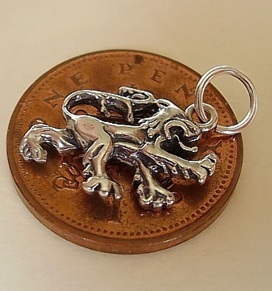 Rampant Lion Sterling Silver Charm