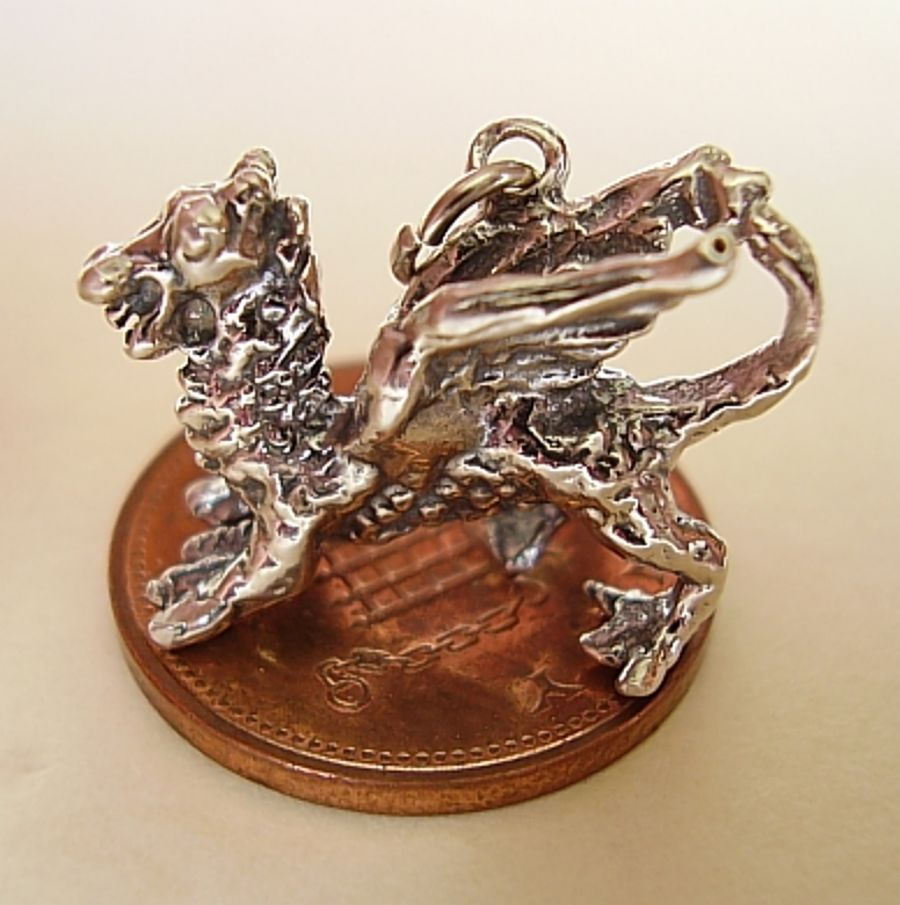 Sterling Silver Welsh Dragon Charm