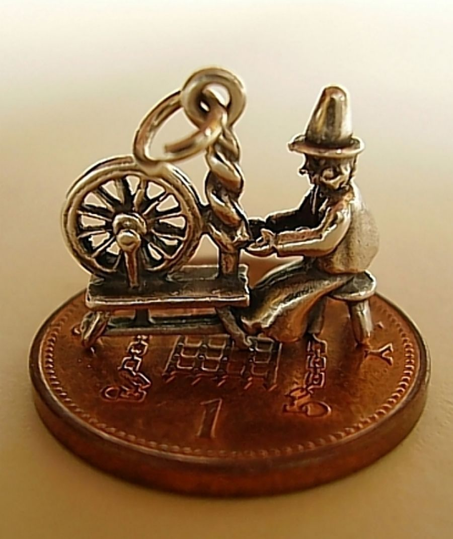 Sterling Silver Lady Spinning Wheel Charm