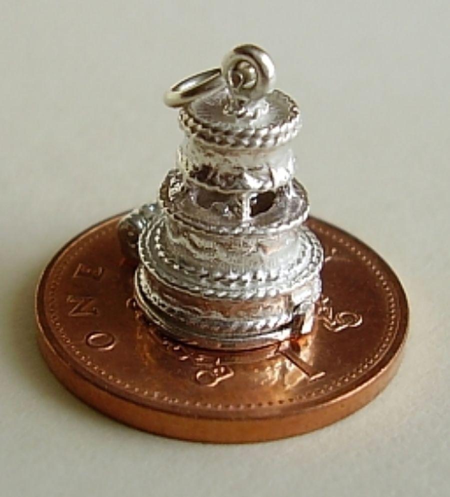 Sterling Silver Wedding Cake Charm