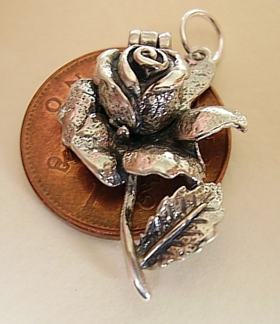 Sterling Silver Rose Bee Charm