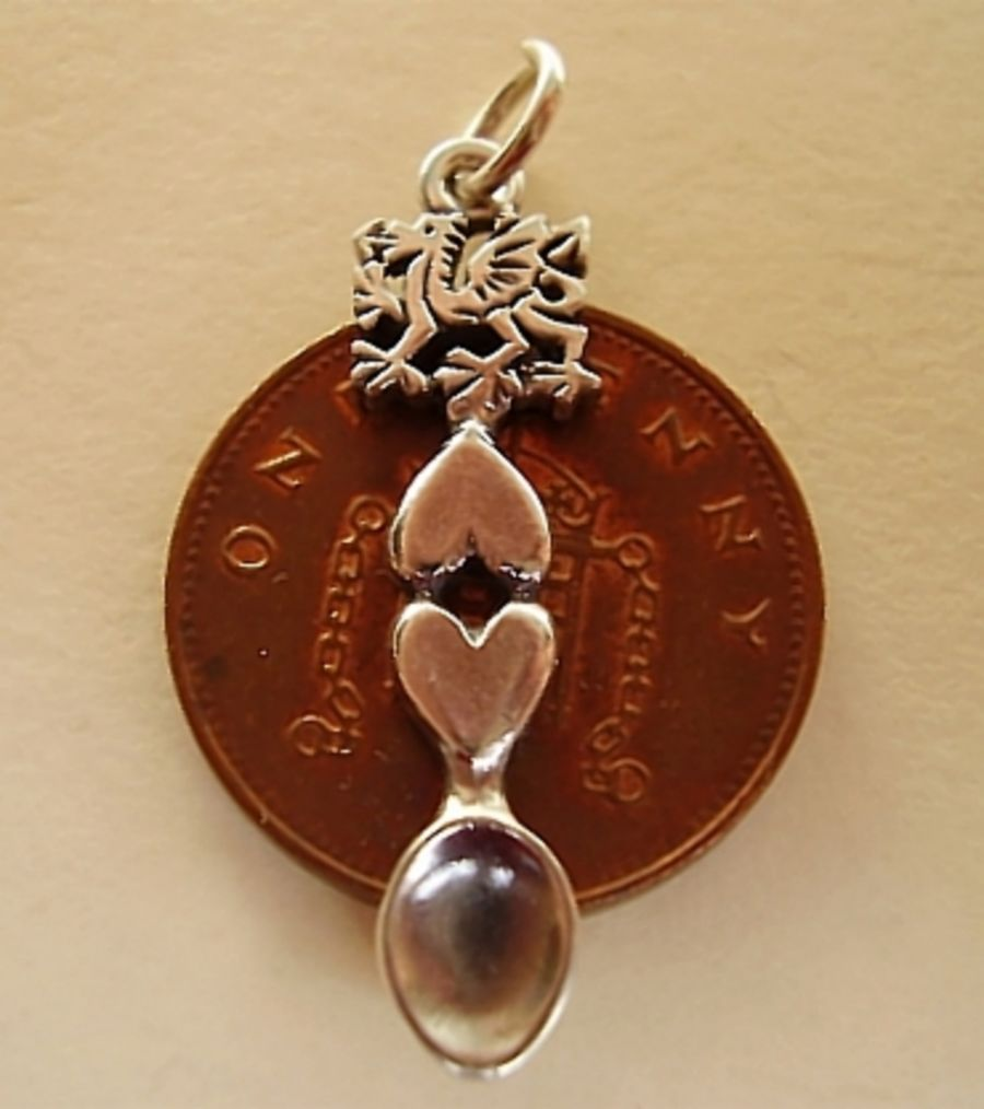 Sterling Silver Welsh Love Spoon With Dragon Charm
