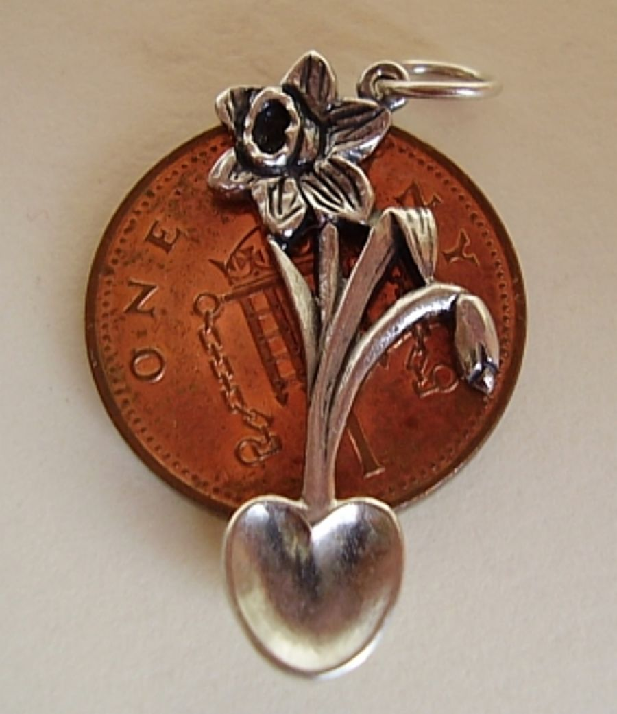 Sterling Silver Welsh Love Spoon With Daffodil Charm