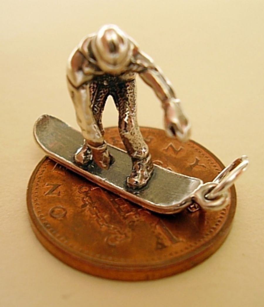 Snowboarder Sterling Silver Charm