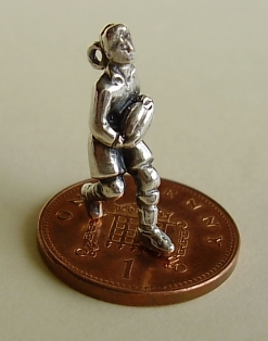 Rugby Player Sterling Silver Charm