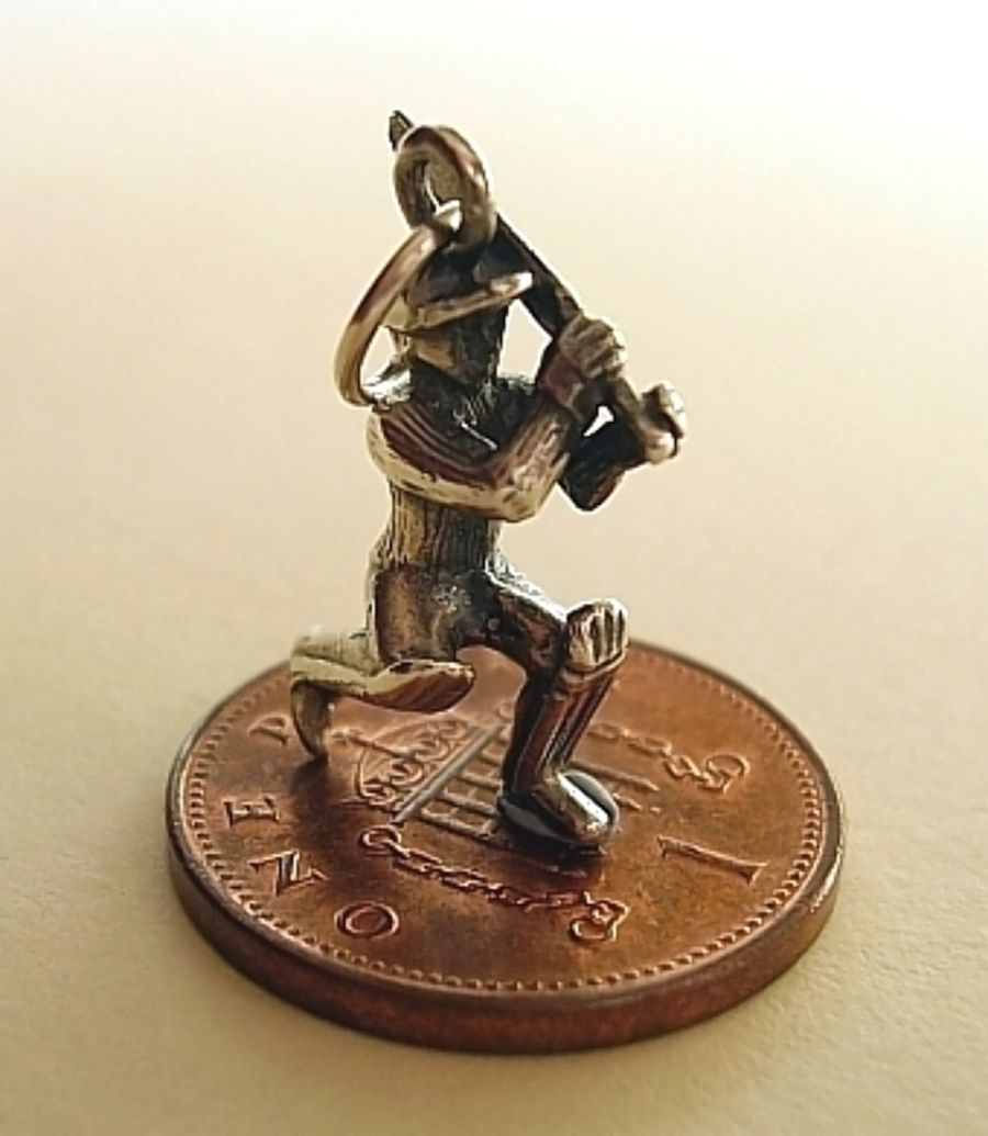 Cricketer Sterling Silver Charm