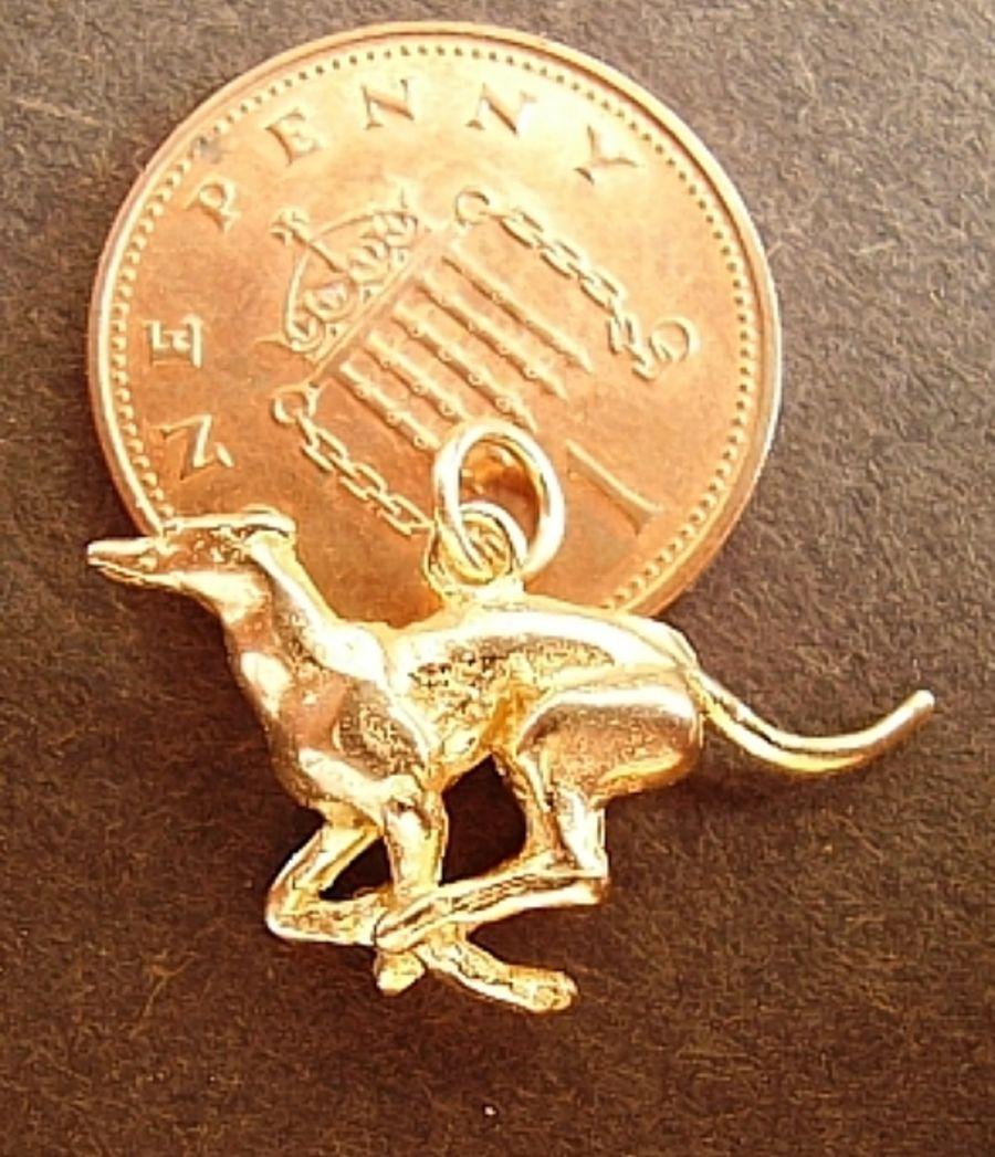 Racing Greyhound 9ct Yellow Gold Charm