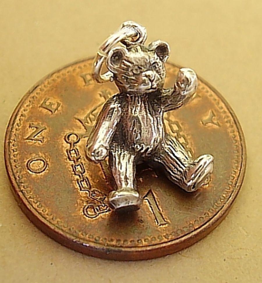 Sterling Silver Small Teddy Bear Charm