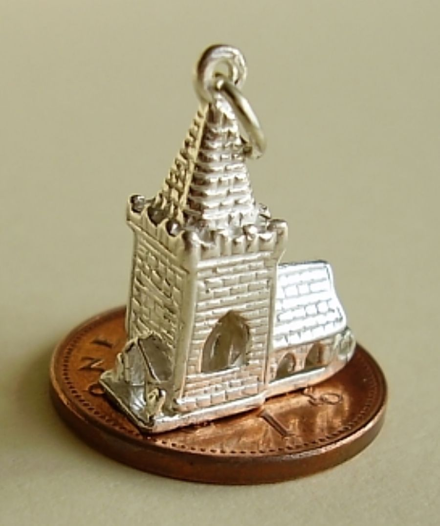 Church Sterling Silver Charm
