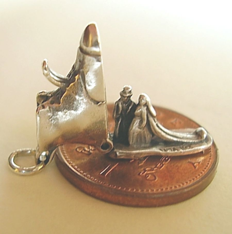 Wedding Boot Sterling Silver Charm