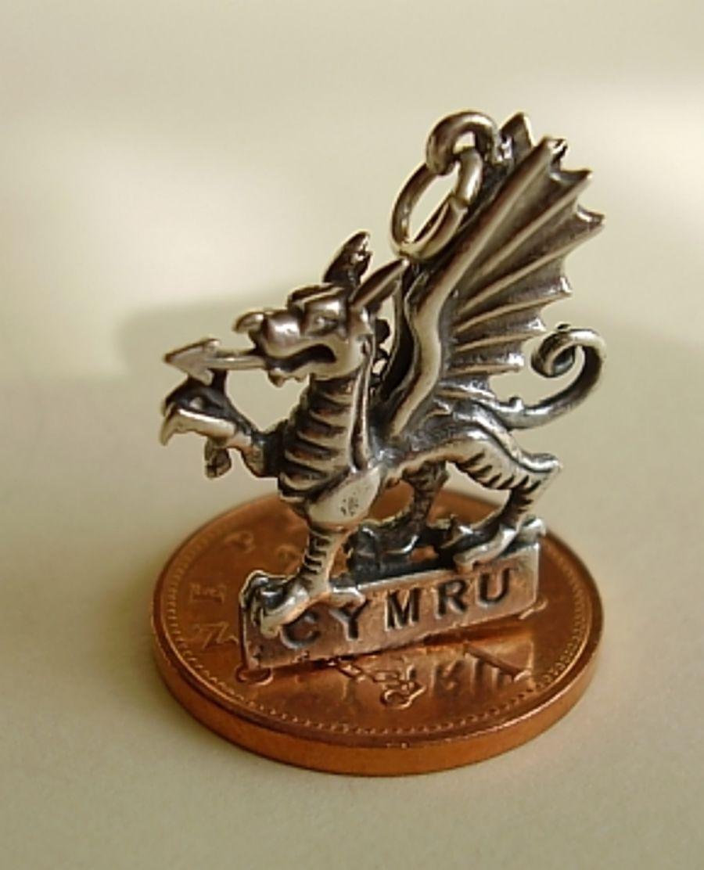 Sterling Silver Cymru Dragon Charm