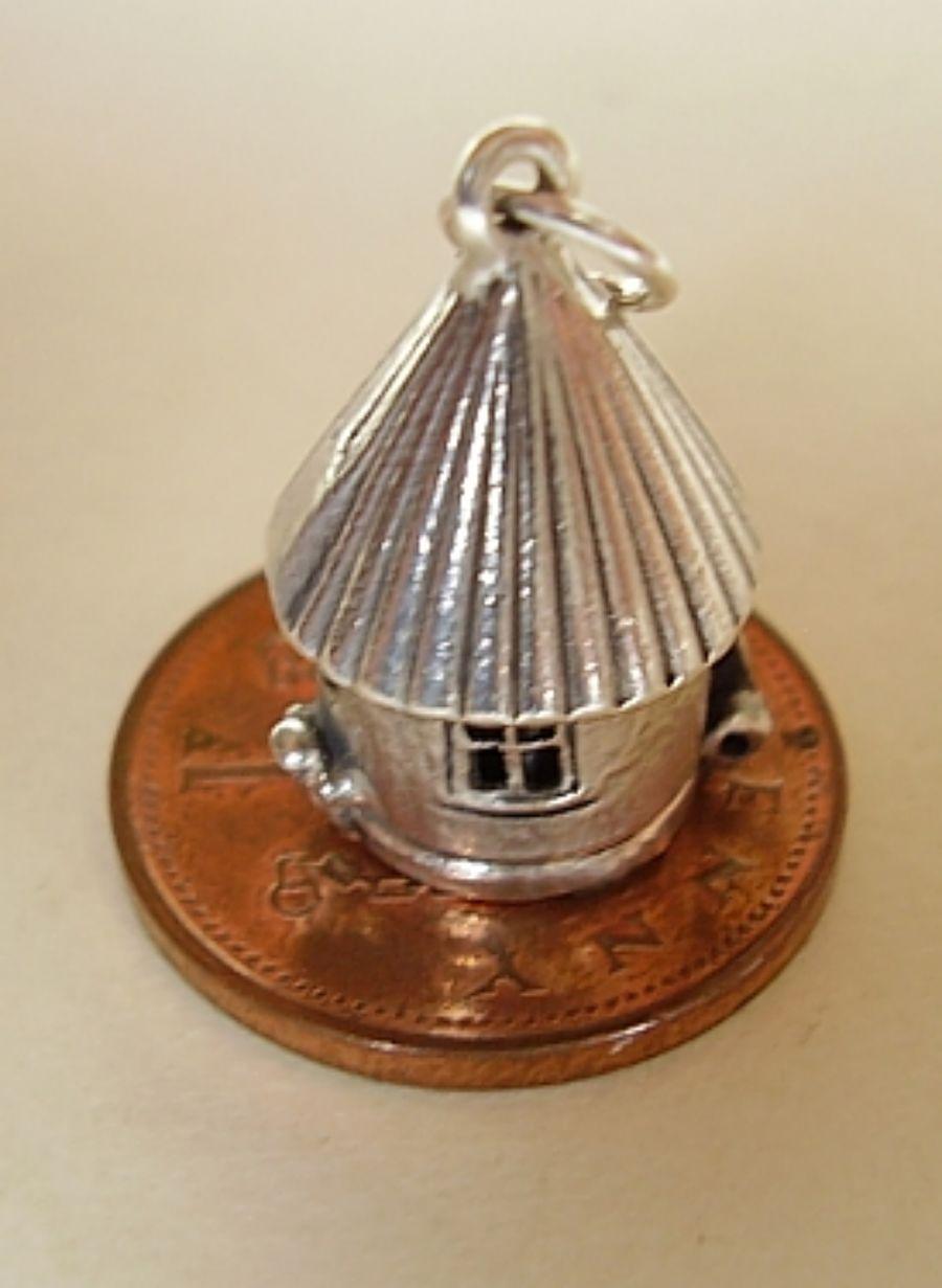 Birdhouse Silver Charm