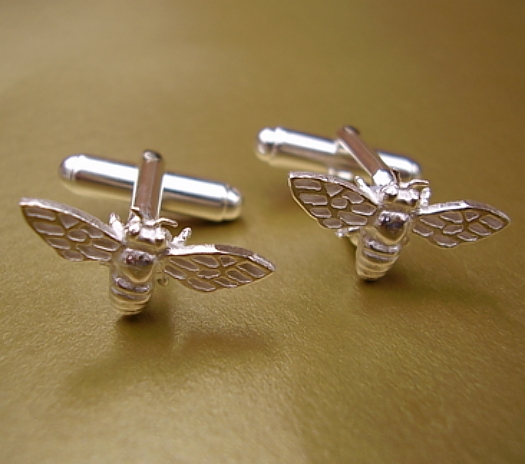Sterling Silver Bee Cufflinks