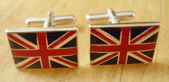 Enamelled Sterling Silver Union Jack Cufflinks