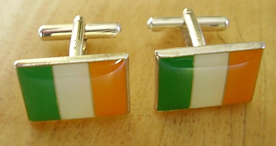 Enamelled Sterling Silver Ireland Tricolour Flag Cufflinks