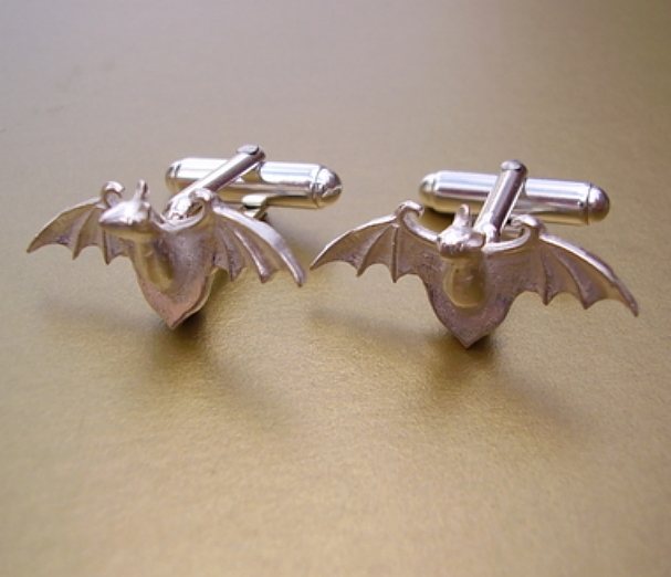 Sterling Silver Bat Cufflinks