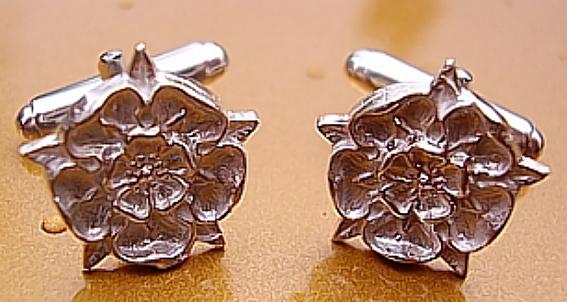 Sterling Silver English Tudor Rose Cufflinks