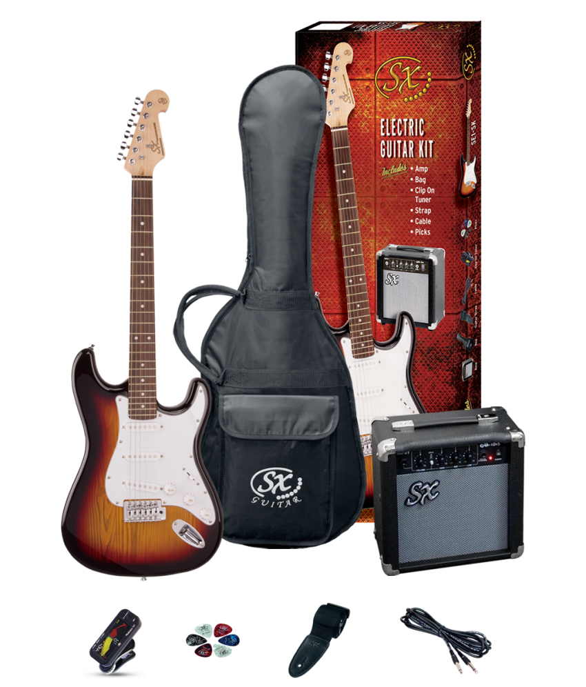 SX Stratocaster Electric Guitar Package
