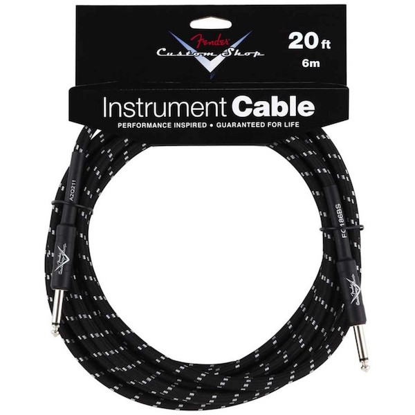 Fender Custom Shop 20ft 6m Instrument Cable - Black Tweed