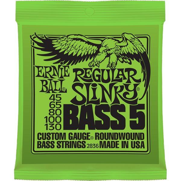 Ernie Ball 5-String Bass Guitar String Set, nickel, Regular Slinky .045-.130